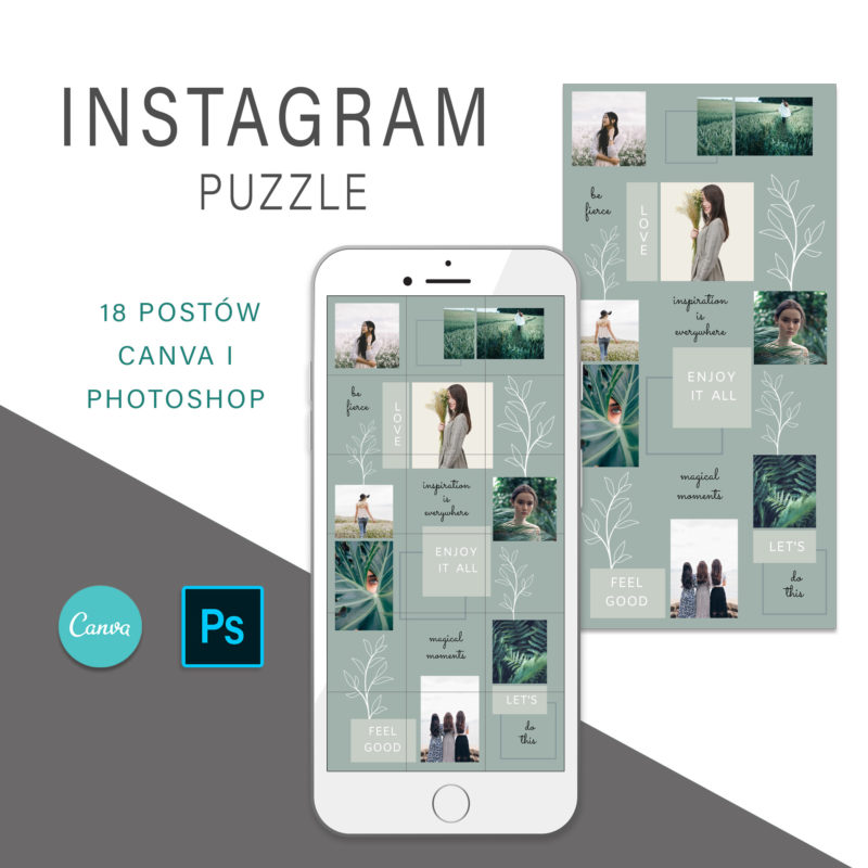 puzzle-instagram-szablon-dla-canva-photoshop-post-social-media-botanika-zielony-oliwkowy-1