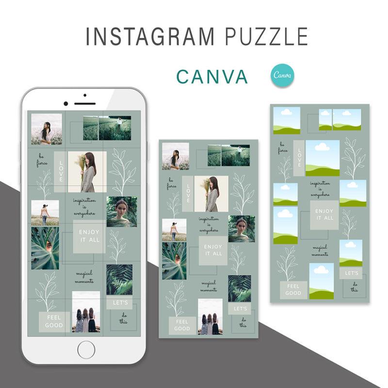 puzzle-instagram-szablon-dla-canva-photoshop-post-social-media-botanika-zielony-oliwkowy-2