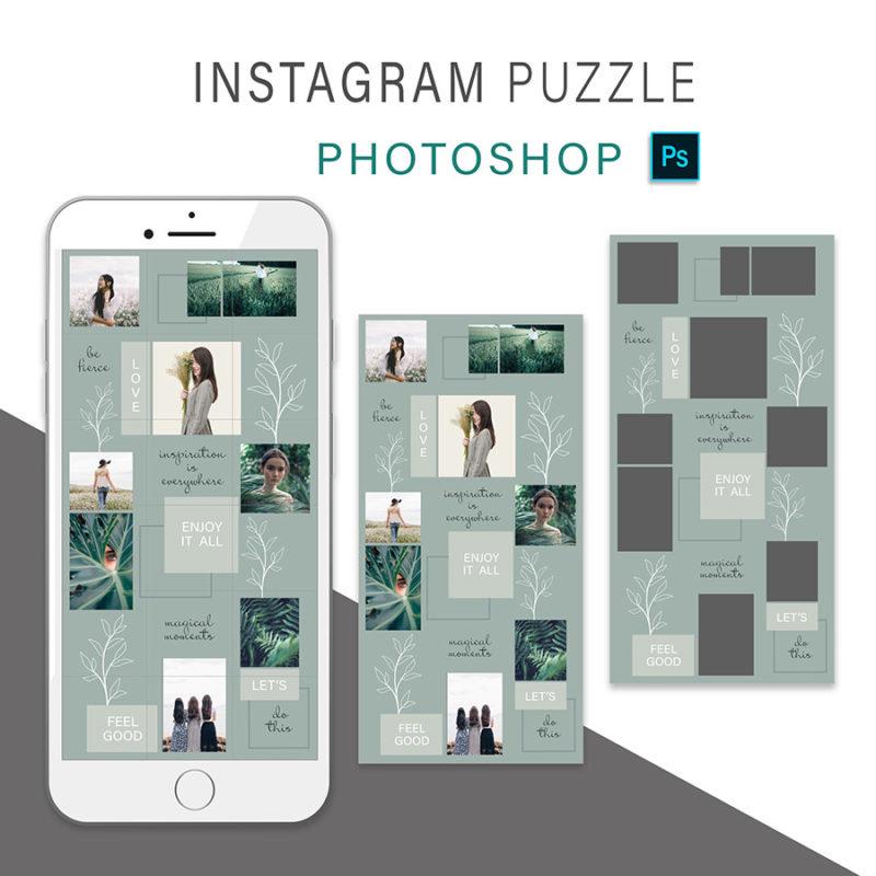 puzzle-instagram-szablon-dla-canva-photoshop-post-social-media-botanika-zielony-oliwkowy-3