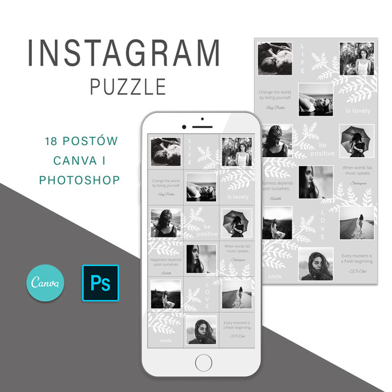 puzzle-instagram-szablon-dla-canva-photoshop-post-social-media-szary-botanika-1