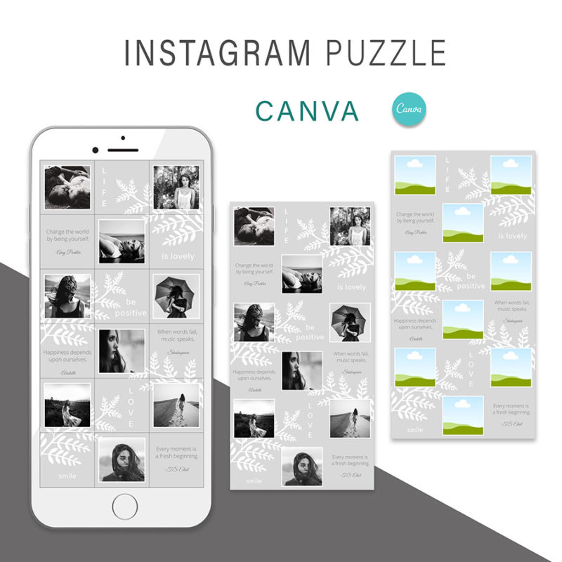 puzzle-instagram-szablon-dla-canva-photoshop-post-social-media-szary-botanika-2