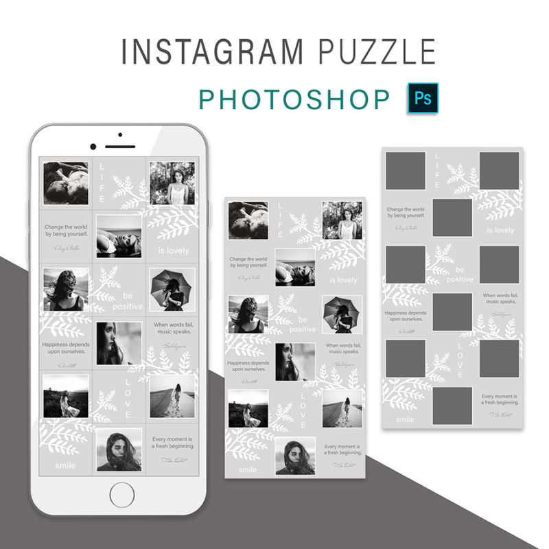 puzzle-instagram-szablon-dla-canva-photoshop-post-social-media-szary-botanika-3