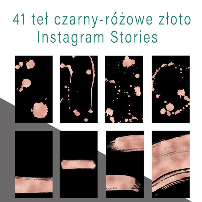 instagram-stories-cyfrowe-tla-czarny-rozowo-złoty-tusz-kleks-mazniecie-farba-social-media-zestaw-teł