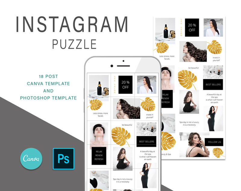 puzzle-instagram-szablon-dla-canva-photoshop-post-social-media-monstera-spa-zloty-czarny-1
