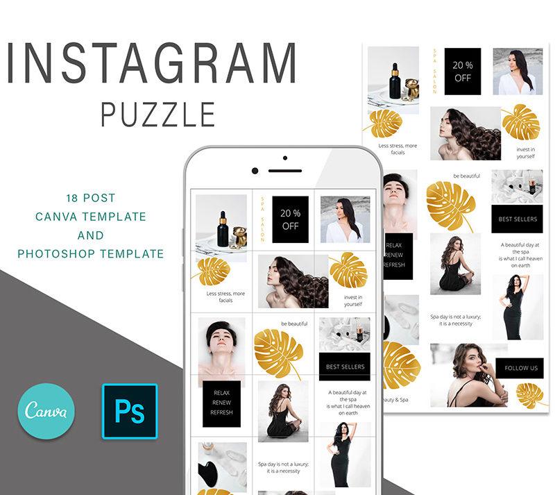 puzzle-instagram-szablon-dla-canva-photoshop-post-social-media-monstera-spa-zloty-czarny-1