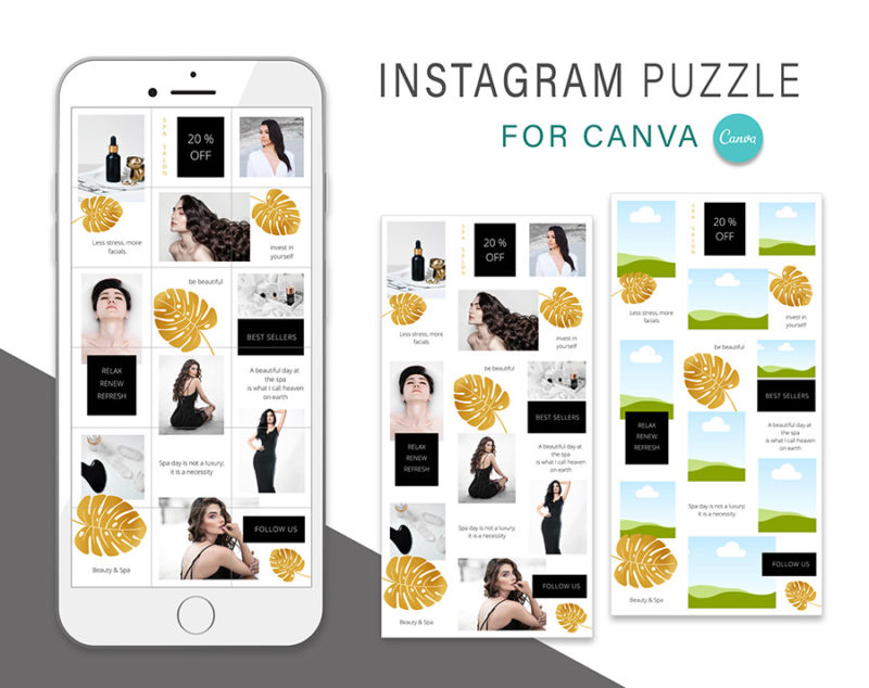 puzzle-instagram-szablon-dla-canva-photoshop-post-social-media-monstera-spa-zloty-czarny-2