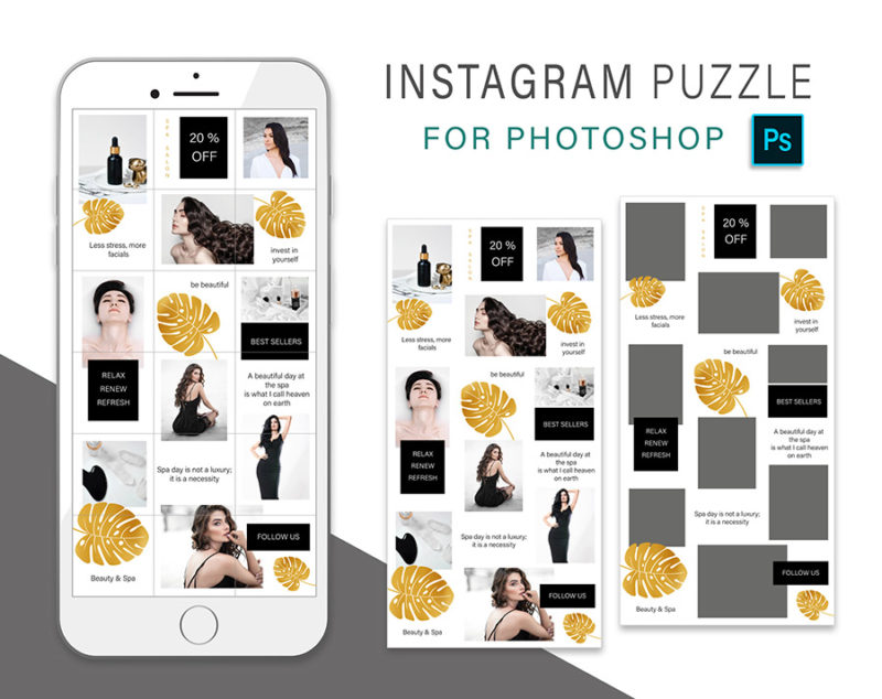 puzzle-instagram-szablon-dla-canva-photoshop-post-social-media-monstera-spa-zloty-czarny-3
