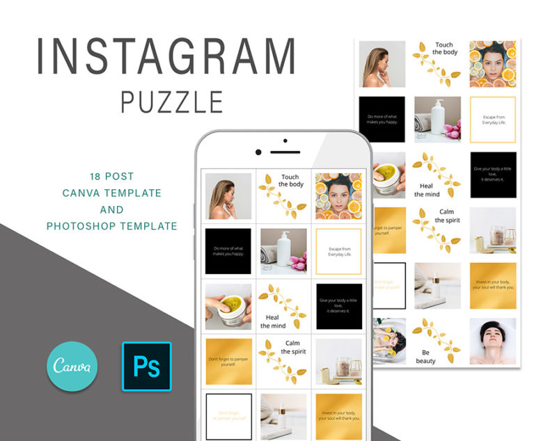 puzzle-instagram-szablon-dla-canva-photoshop-post-social-media-naura-spa-zloty-czarny-1