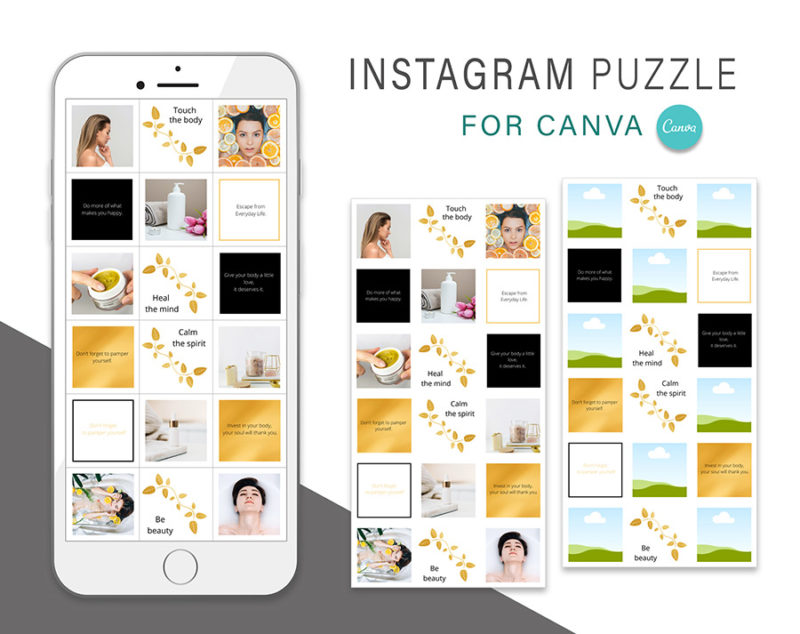 puzzle-instagram-szablon-dla-canva-photoshop-post-social-media-naura-spa-zloty-czarny-2