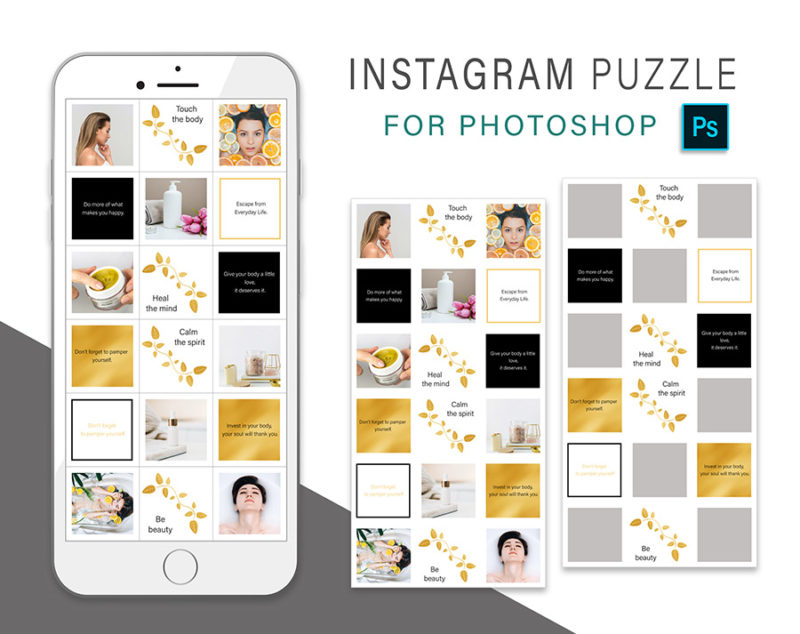 puzzle-instagram-szablon-dla-canva-photoshop-post-social-media-naura-spa-zloty-czarny-3