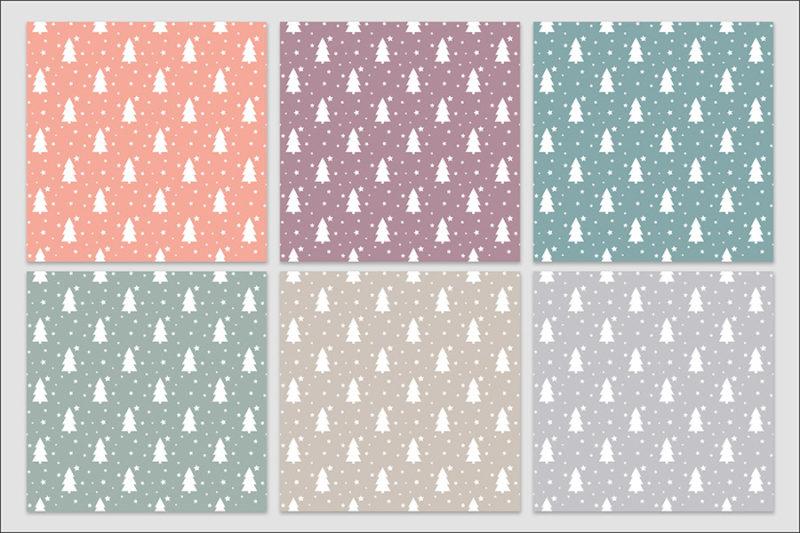 papier-cyfrowy-choinki-bezszwowe-wzory-gwiazdy-drzewa-zima-swieta-pakiet-30-sztuk-2