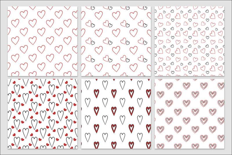 papier-cyfrowy-serca-recznie-malowane-bazgroly-bezszwowe-wzory-valentynki-love-pakiet-30-sztuk-2