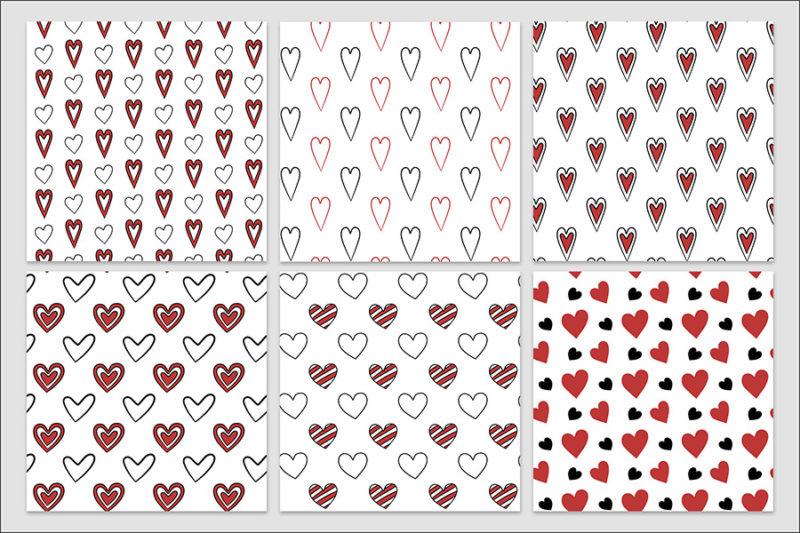 papier-cyfrowy-serca-recznie-malowane-bazgroly-bezszwowe-wzory-valentynki-love-pakiet-30-sztuk-3