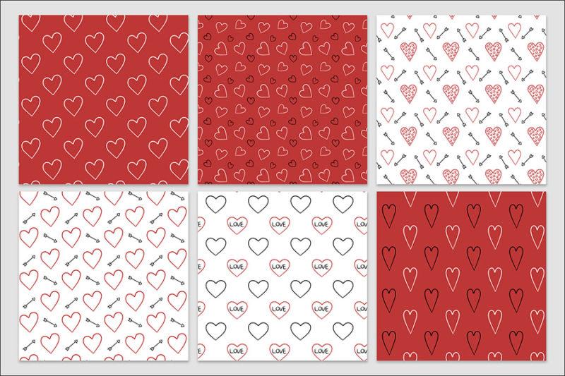 papier-cyfrowy-serca-recznie-malowane-bazgroly-bezszwowe-wzory-valentynki-love-pakiet-30-sztuk-4