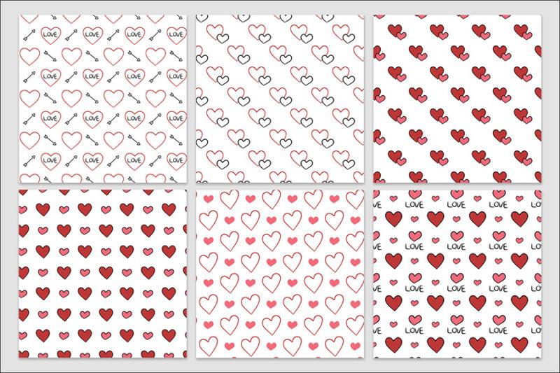 papier-cyfrowy-serca-recznie-malowane-bazgroly-bezszwowe-wzory-valentynki-love-pakiet-30-sztuk-5