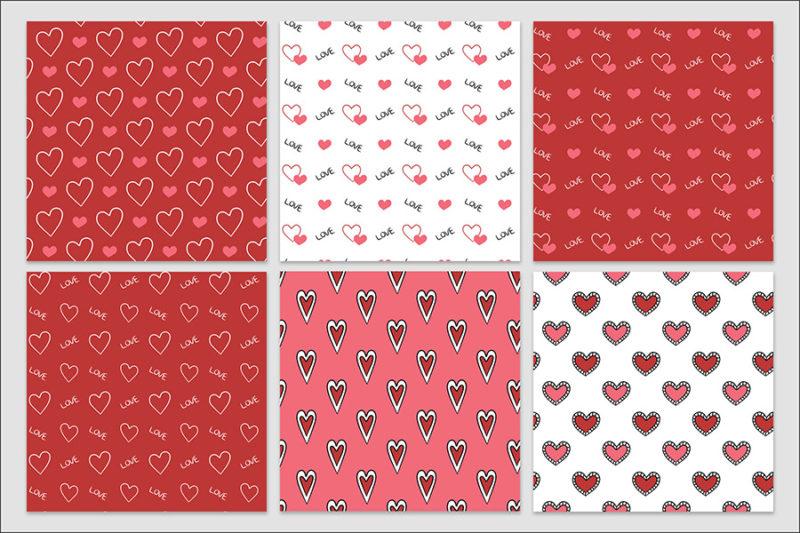 papier-cyfrowy-serca-recznie-malowane-bazgroly-bezszwowe-wzory-valentynki-love-pakiet-30-sztuk-6