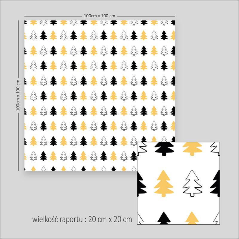 wzor-na-tkanine-tapete-choinki-czarne-zolte-wzor-skandynawski-wzor-bezszwowy-1a