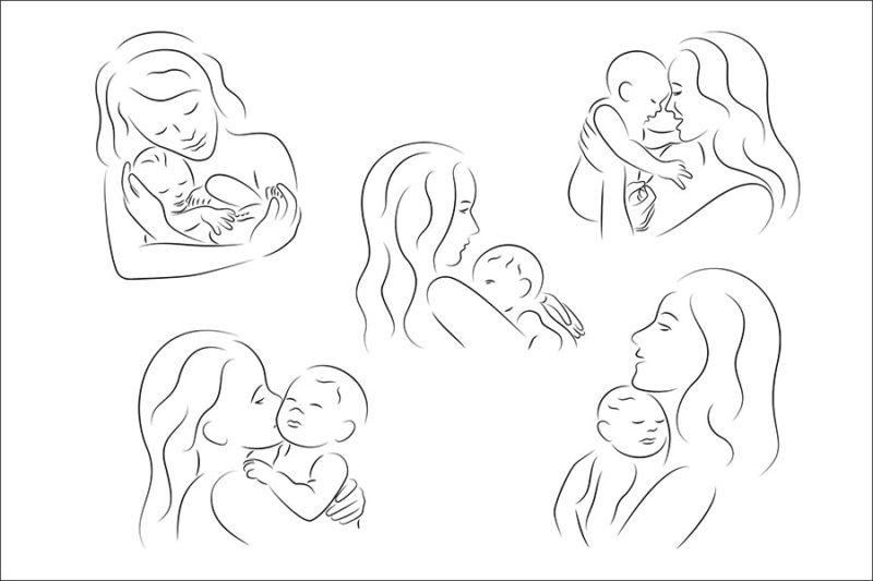 grafika-wektorowa-png-svg-ai-eps-nagie-matka-z-dzieckiem-figura-wektor-ilustracja-rysunek-2